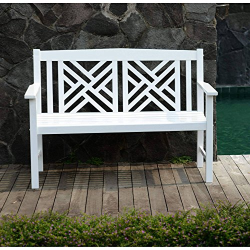 - 4' Lattice Outdoor Patio Bench, Sturdy and Long Lasting Solid Hardwood Construction, Comfortable Contour Seating, All Weather Resistant, Wood Slats, Perfect for your Porch or Yard, White Finish