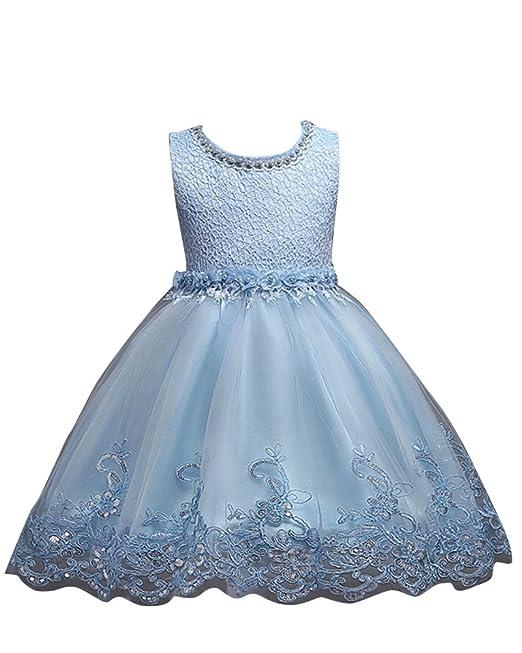 Niñas Vestido de Princesa Lentejuelas sin Mangas para Fiesta Bodas Ceremonia Azul 100