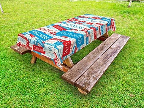 Ambesonne Fitness Outdoor Tablecloth, Collage of Words Physical Activity Healthiness Nutrition Bodycare Theme, Decorative Washable Picnic Table Cloth, 58 X 104 inches, Sky Blue White Red by Ambesonne