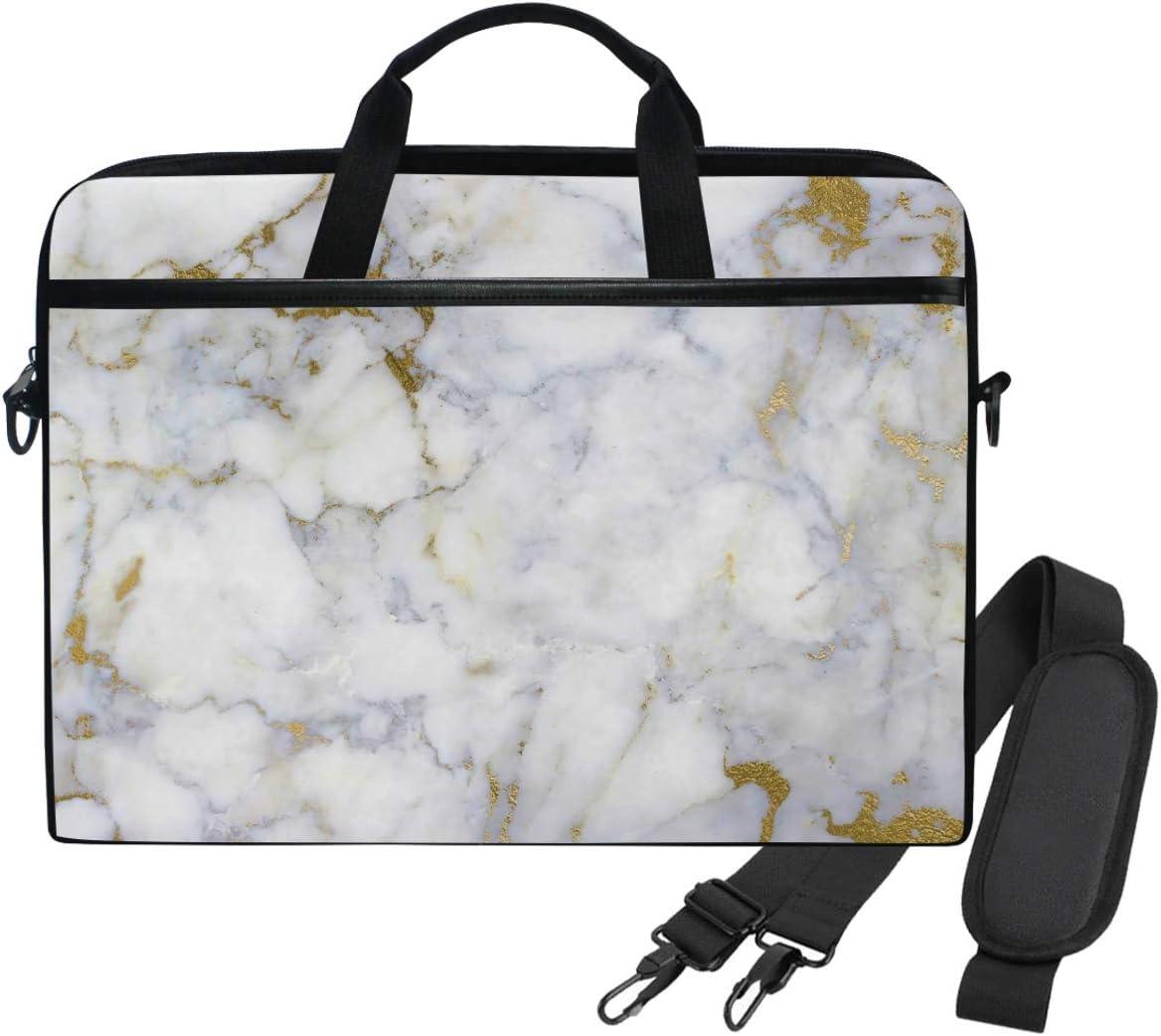 WIHVE White Gold Marble Laptop Shoulder Messenger Bag Case Sleeve for 14 Inch 13 Inch Laptop Briefcase