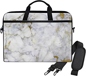WIHVE White Gold Marble Laptop Shoulder Messenger Bag Case Sleeve for 14 Inch 13 Inch Laptop Briefcase