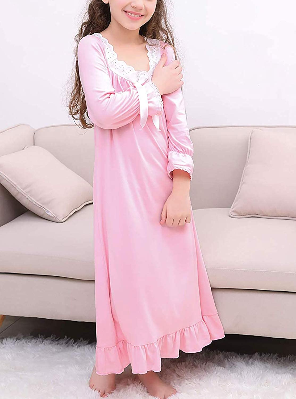 Caat Aycox Lovely Girls Princess Nightgown Soft Cotton Sleepwear Kids 3-12 Years