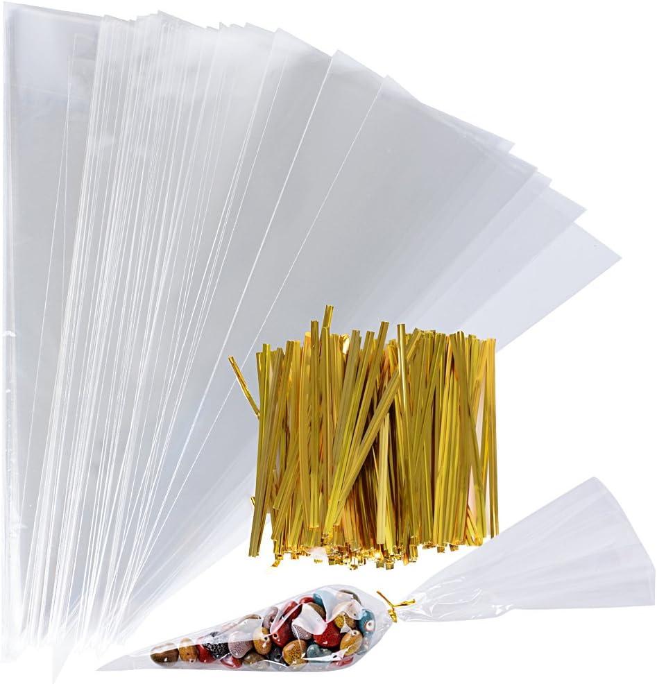 200Pcs(18 * 37cm) Bolsas Cono Triangulares Transparente Bolsitas Celofán Plástico OPP + 200 Precintos Dorados Chuches Caramelos Galletas Palomitas de Maíz Nueces Boda Fiesta Navidad Cumpleaños