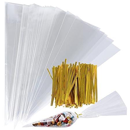 200Pcs(18 * 37cm) Bolsas Cono Triangulares Transparente Bolsitas Celofán Plástico OPP + 200 Precintos Dorados Chuches Caramelos Galletas Palomitas de ...