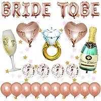 Kit de decoraciones de despedida de soltera, artículos de despedida de soltera, banner de la novia para ser, globo de papel de aluminio, globo de papel de botella de champán, globos de papel de corazón, globos de látex - Bachelorette Party Decorations Kit