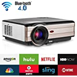 LCD HD Home/Outdoor WiFi Projector with Bluetooth Android 6.0 Support 1080P HDMI Wireless Airplay Connectivity for iPhone iPad, 3500Lumen LED Digital Movie Projector for Games Artwork Sports Karaoke