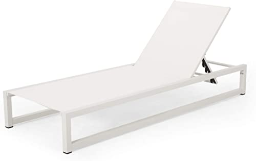 Jerome Outdoor Aluminum Chaise Lounge with Mesh Seating, White