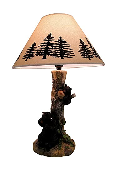 Rustic Black Bears In A Honey Tree Table Lamp Amazon Com