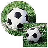 Sports Themed Plates & Napkins Party Kit for 8 (Soccer, Lunch)