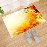 JANNINSE Guest Faith Gorgeous Large Doormat,Yellow Striped Flowers And Maple Leaves Thanksgiving Idea,23.6 X 15.7 Door Translate By Capillary Fiber Door Moisture,Quick Drying,Bottom Skid, Yellow Red