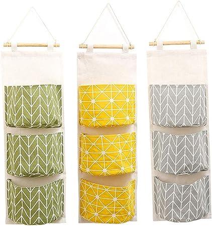 Convenient 3 Grid Cotton Linen Waterproof Wall Hanging Pocket Container Bag UK