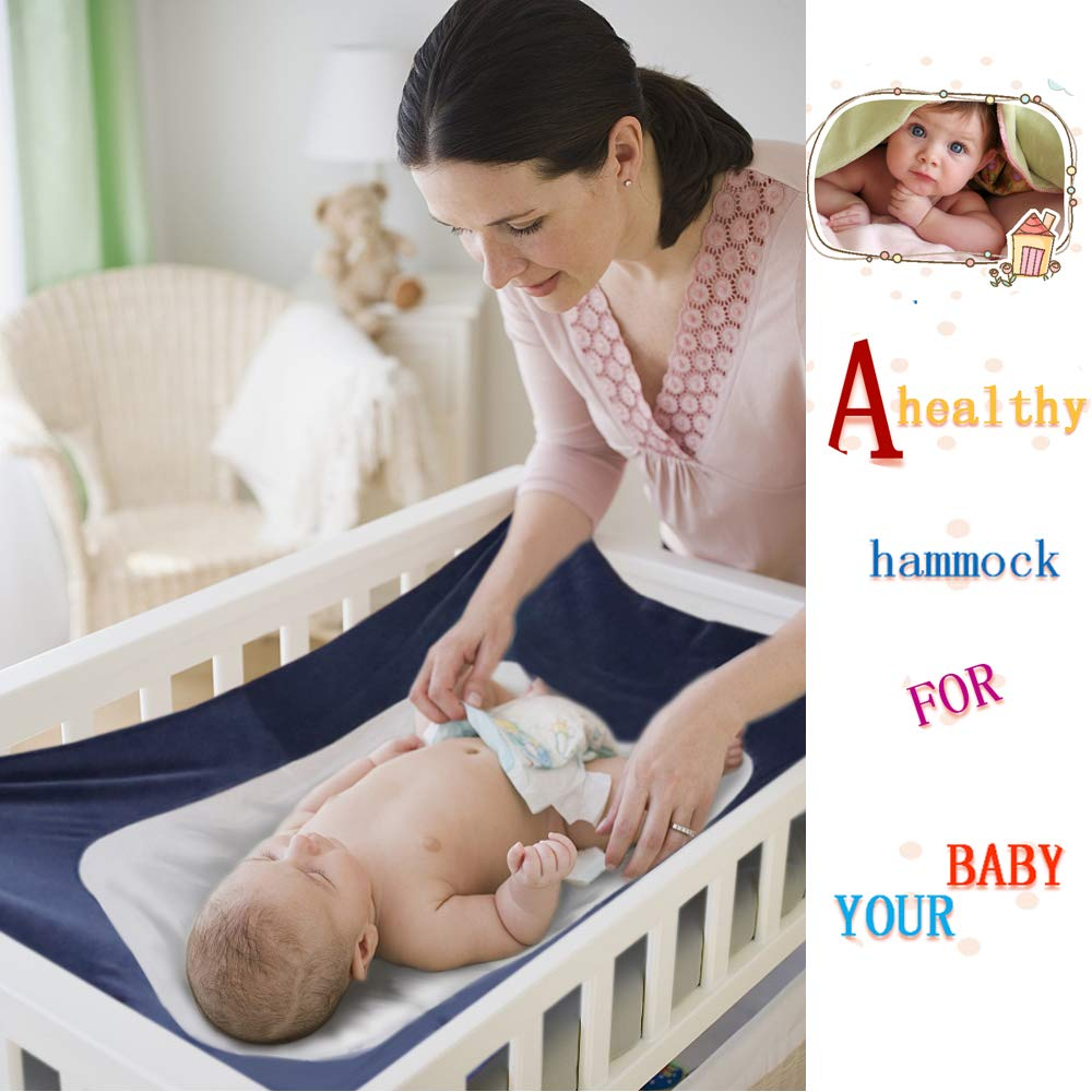 Newborn Baby Hammock for Crib Kids Hammock Baby Crib Hammock for Crib Bassinet Hammock Bed Infant Safety Bed Strong Oxford Material with Double-Layer Breathable Supportive Mesh 33lbs (Dark Blue) by Tforester Ⓡ US (Image #4)