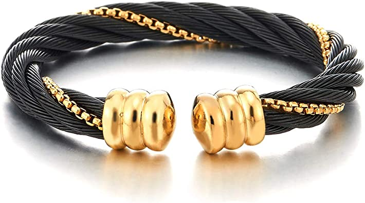 COOLSTEELANDBEYOND Men Women Steel Gold Color Twisted Cable Cuff Bangle Bracelet with Black Resin Beads Adjustable