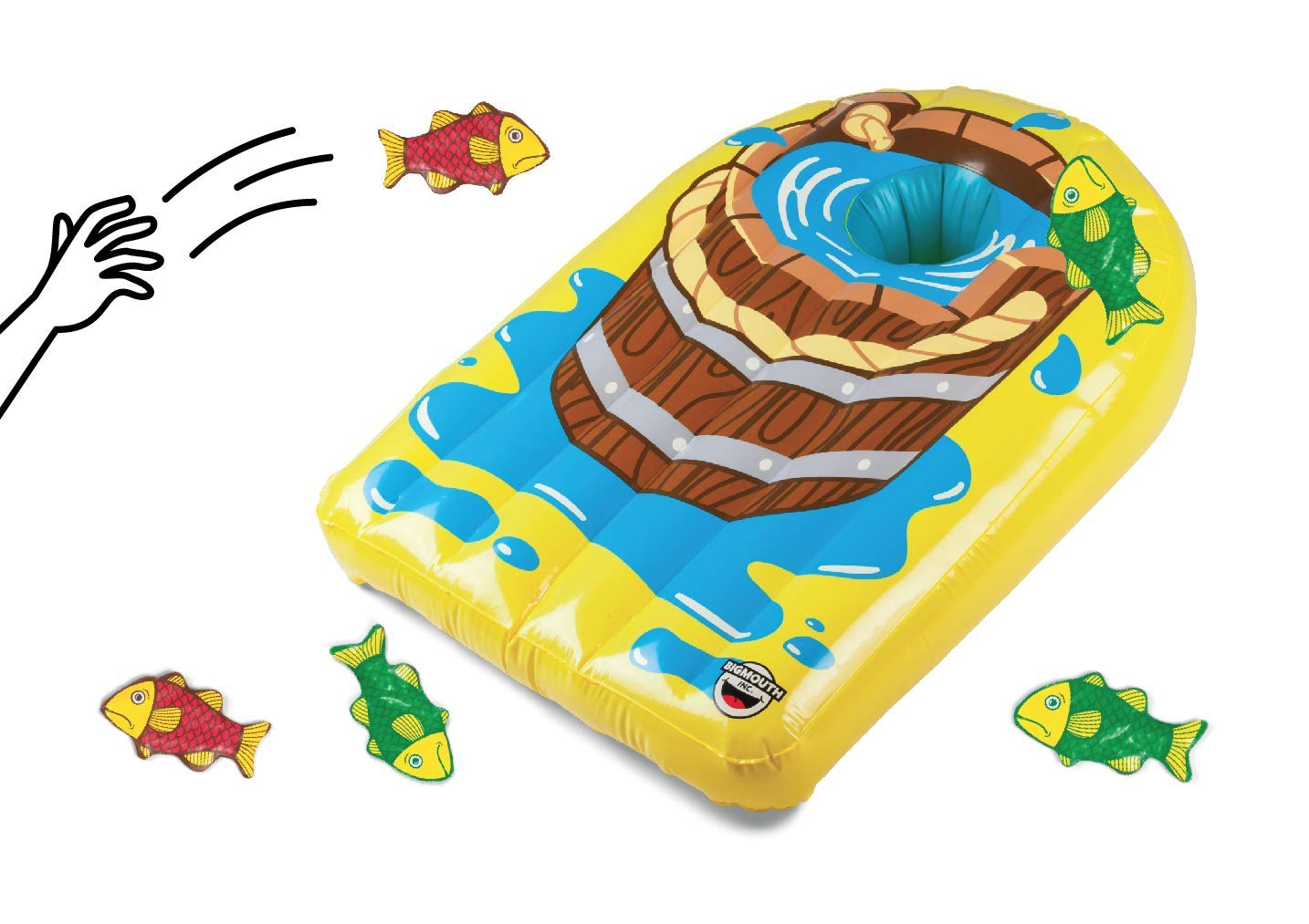 BigMouth Inc Fling A Fish Party Toss Game - Hilarious Lawn Game Includes Inflatable Game Board, and 6 Fish Shaped Bean Bags, Easy Set up and Storage - Great Game for Parties, Celebrations, and More