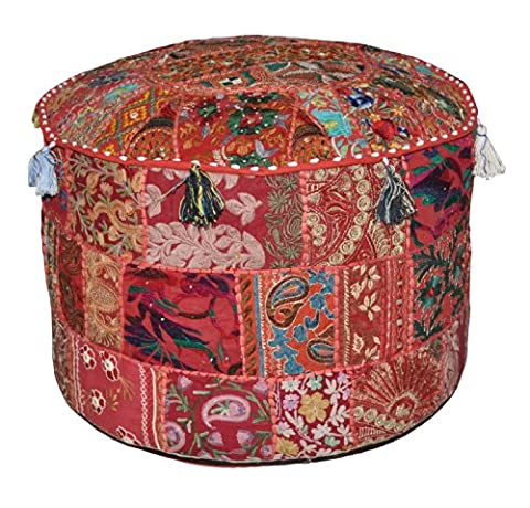 Indian Traditional Home Decorative Ottoman Handmade and Patchwork Foot Stool Floor Cushion, 23 X 13 (Sedia Da Giardino Ottomano)