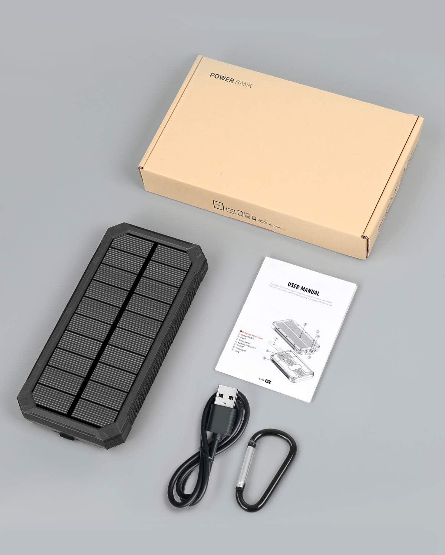 Solar Charger 15000mAh,Elzle Outdoor Portable Solar Power Bank ...