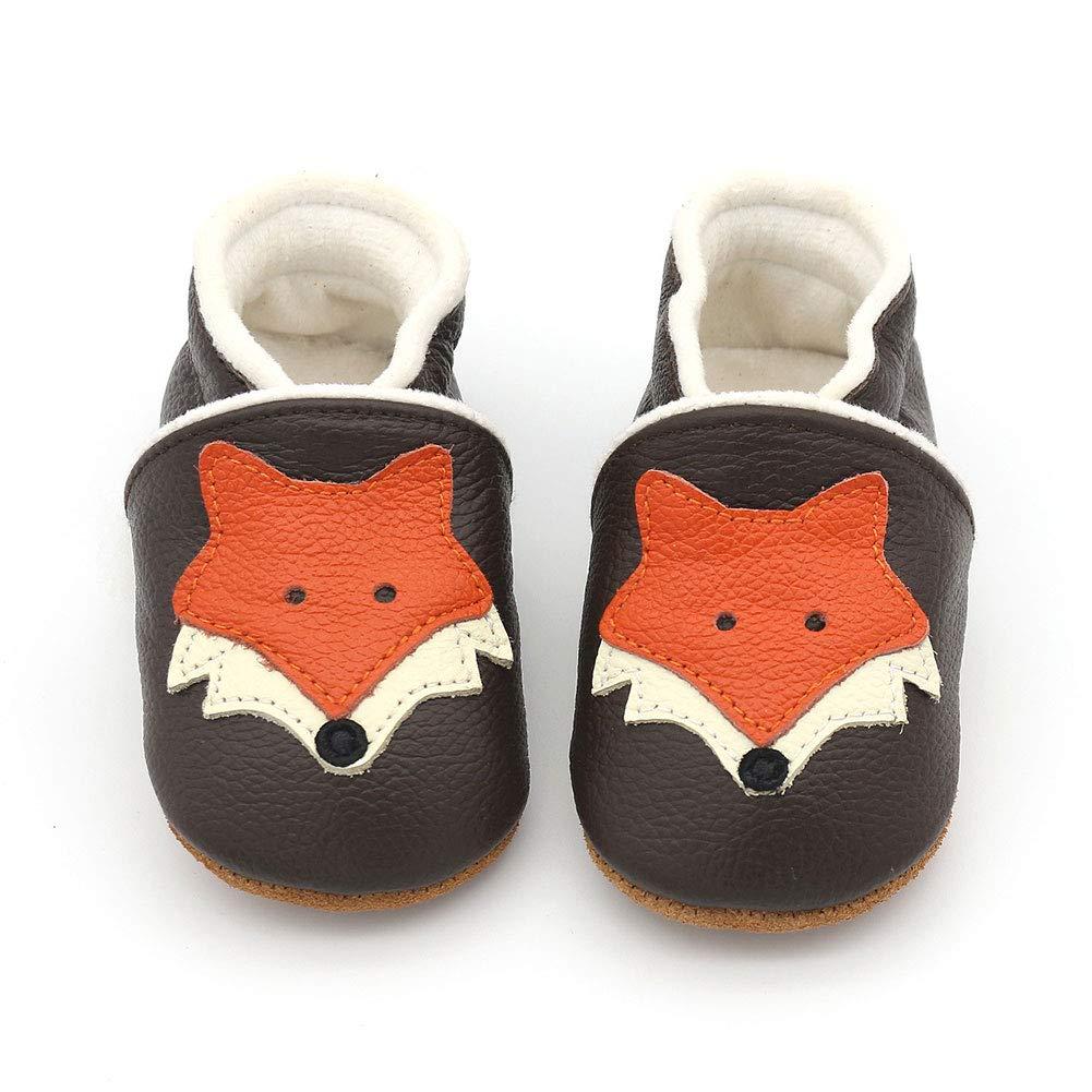 LPATTERN Enfant Fille Gar/çon Chaussure Cuir Souple Chausson en Laine Antid/érapant Bottes