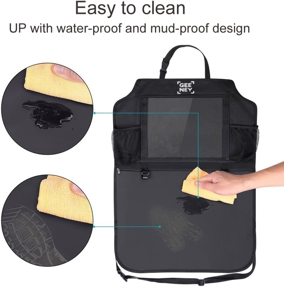 GEENEY Pack de 2 Kick Mats de Coche Organizador para Asientos de Coche Universal Multi-Bolsillo Protector Trasero del Asiento de Coche para Ni/ños Organizadores para Coche