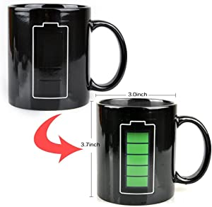 EXCEL-LEADER 12 Ounce Magic Coffee Heat Sensitive Mug,Ceramic Battery Charging Design Color Changing Heat Coffee Cup