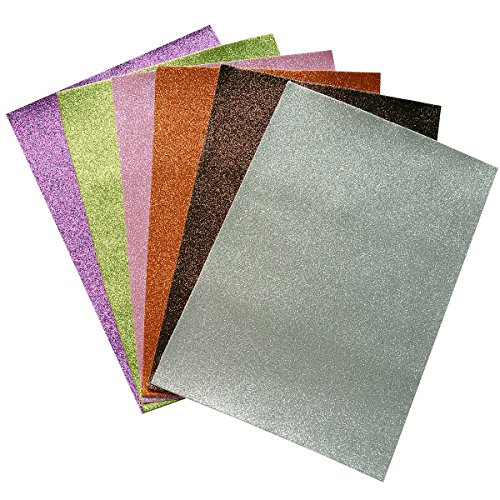 Glitter Fabric Sheets- 6 Pieces of Assorted Colours 8