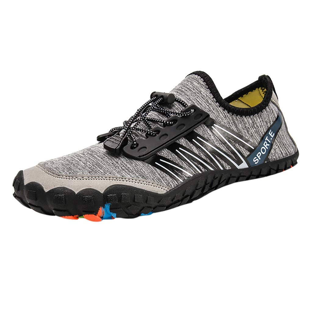NUWFOR Unisex Quick-Dry Water Shoes Pool Beach Swim Drawstring Shoes Creek Diving Shoes(Gray,6 M US Length:8.9'')