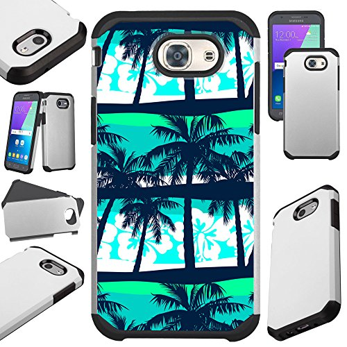 For Samsung Galaxy J3 (2017)/J3 Emerge/J3 Mission/J3 Eclipse/J3 Luna Pro/J3 Prime/Sol 2/Amp Prime 2/Express Prime 2 Case Hybrid TPU Fusion Phone Cover (Palm Tree) (Palm Hybrid)