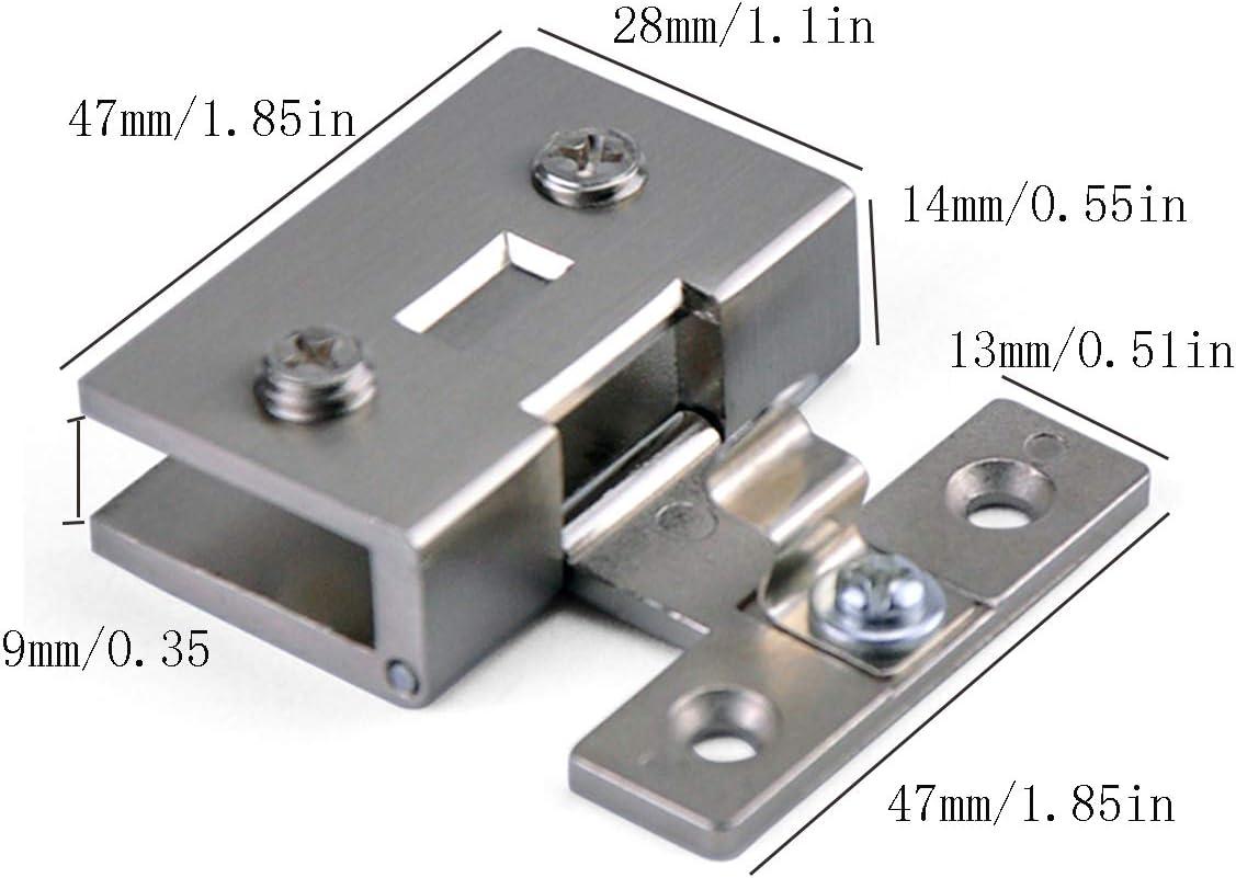 verre sans per/çage ajustement pour verre de 8 /à 10 mm alliage de zinc rotation /à 90 /° Paquet de 2 charni/ères carr/ées pour portes en verre