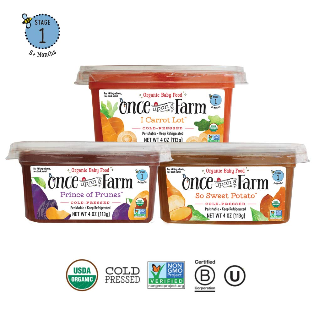 Once Upon A Farm Organic Stage 1 | Baby Food Cups | Cold Pressed | Refrigerated | For 5 Months and Up | Variety Pack of 12