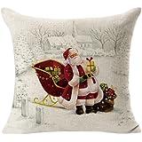 Rukiwa Christmas Pillow Throw Flax Case Decorative Cushion Cover