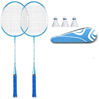 CMLLING Badmintonracket, professioneel badmintonracket, 1 badmintonzak / 3 nylon badminton / 2 rackets (BLAU / ROSA)
