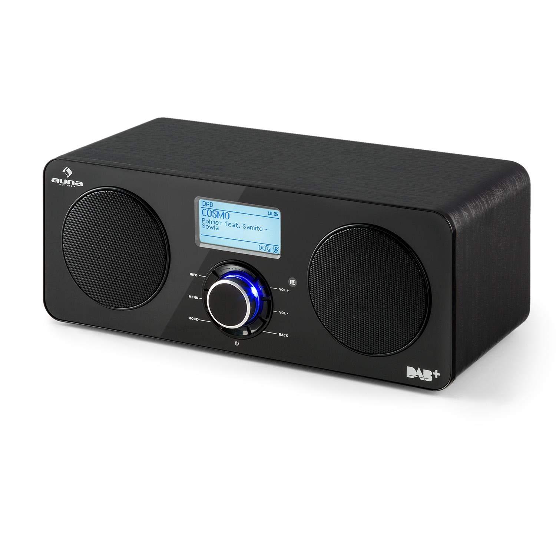 Radio Internet st/ér/éo Multiroom Tuner Dab//Dab+ Ecran LCD Contr/ôle par appli AUNA Worldwide Walnut Line Noyer Tuner FM RDS T/él/écommande Spotify Connect USB