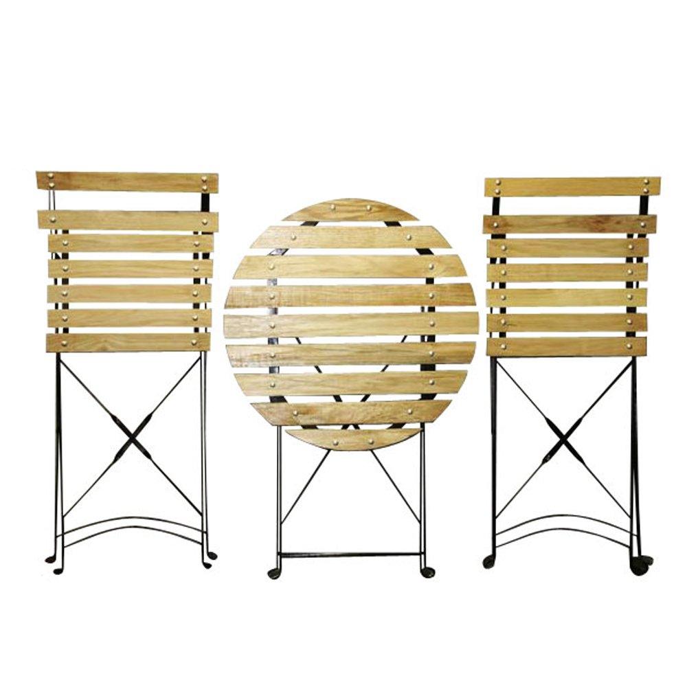 テーブルセット スチール 丸テーブル 椅子 木目 B0086TQHUE  木目
