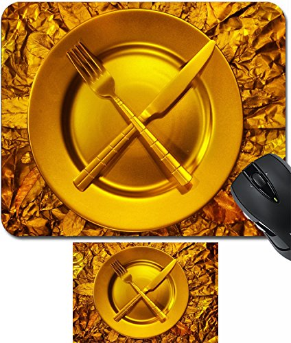 Stll Life (MSD Mouse Wrist Rest and Small Mousepad Set, 2pc Wrist Support design: 35364197 Stll life with plate fork and on gold background)