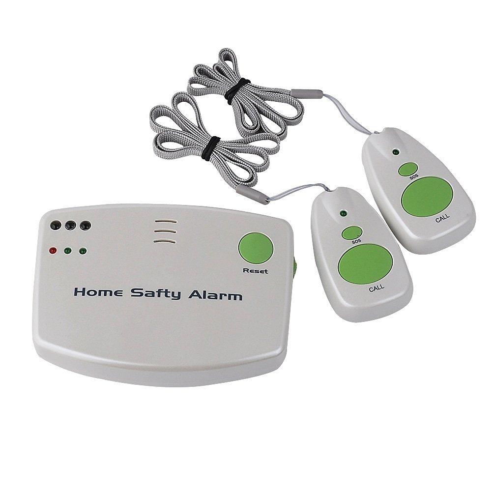 Bermud Haushaltsalarme Heim Notfall drahtlosen Pager Funkalarm für Altenpflege / mütterliche / Patient / Kinderbetreuung zu Hause Pager-Gerät, 1 Sicherheits-Alarm Empfänger mit 2 Sender