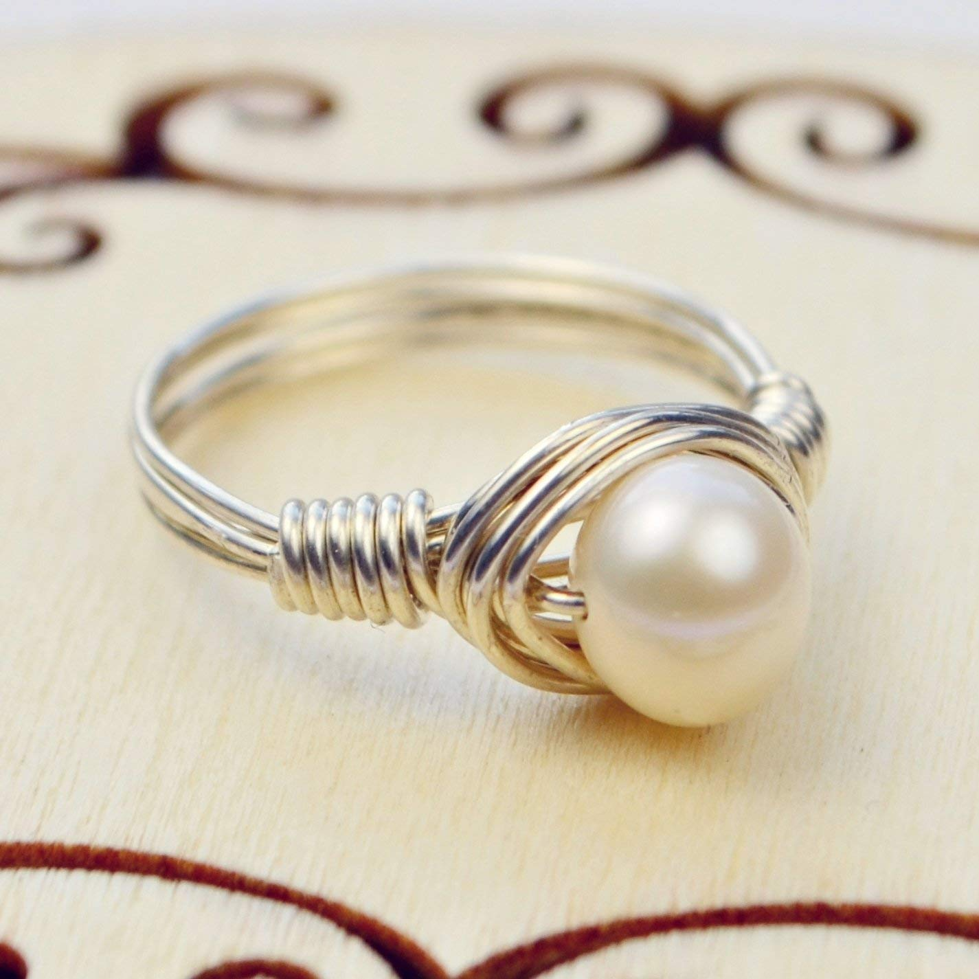 Freshwater Pearl Sterling Silver or Gold Filled Wire Wrapped Ring- Custom Made to Your Size 4-14