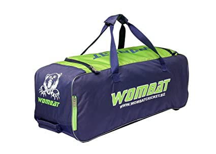 42f7f78ca WOMBAT Polyester Blue Green Cricket KIT Bag with Wheel Wheelie Cricket Bag  Junior Wheelie Bag