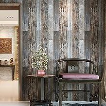"HaokHome 5003 Vintage Faux Wood Wallpaper Rolls Slategray/Brown Barnwood Wallpaper Murals Home Kitchen Bathroom Decoration 20.8"" x 374"""