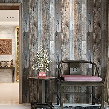 HaokHome 5003 Weathered Faux Wood Plank Wallpaper Rolls Slategray Brown Barnwood Murals Home Kitchen