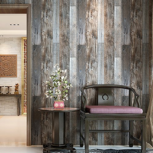 HaokHome 5003 Weathered Faux Wood Plank Wallpaper Rolls Slategray/Brown Barnwood Wallpaper Murals Home Kitchen Bathroom Decoration 20.8