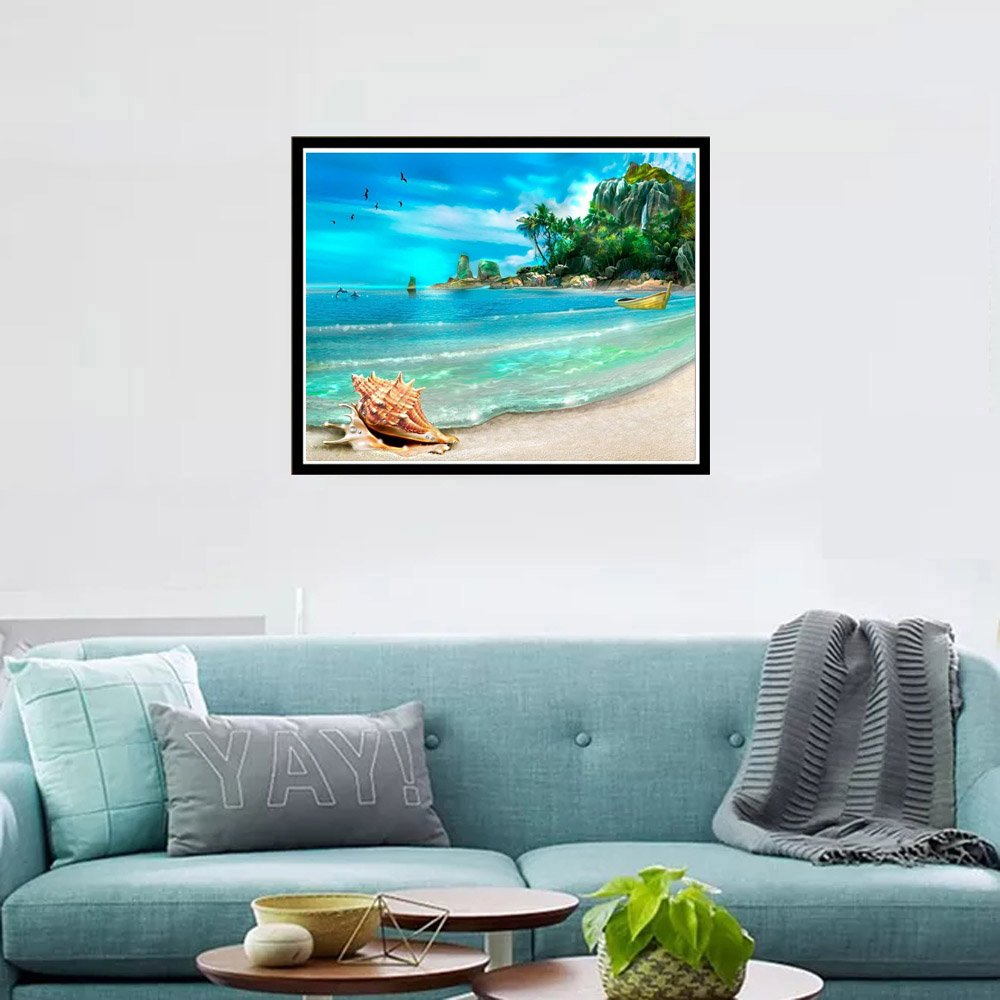 11.8x15.7 inches DIY 5D Diamond Painting by Number Kits Full Drill Rhinestone Embroidery Cross Stitch Pictures Arts Craft for Home Wall Decor,Beach