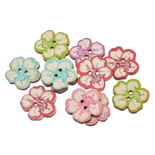 Souarts Mixte Bouton en Bois 2 Trous Forme Fleur de Pêche Multicolore Lot de 30pcs