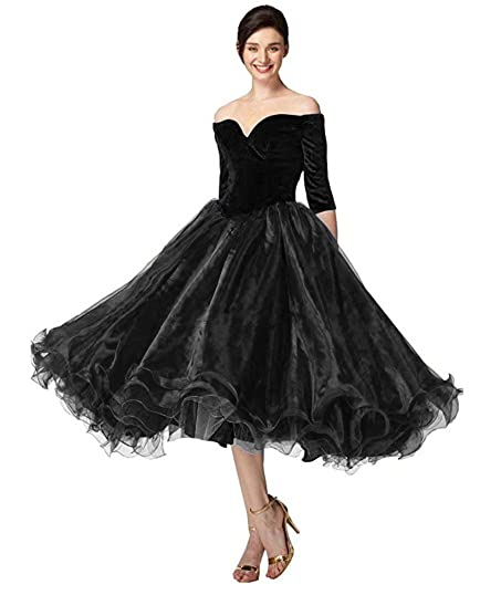 Womens Off Shoulder Velvet Prom Dresses 3/4 Sleeves Ball Gown Party Gown Black 2