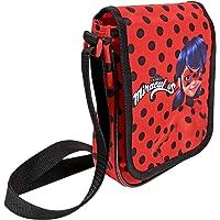 PERLETTI Enfants Messenger Bag Miraculous Ladybug et Chat Noir - Lady Bug Sac à Bandoulière Plat pour Fille - Rouge avec Pois Noirs - 19x16x4 cm