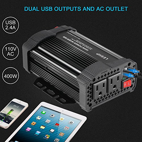 LESHP 400W Power Inverter DC 12V to AC 110V Car Adapter with 4.8A 2 USB Charging Ports by LESHP (Image #5)