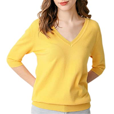 Betusline Women's Cashmere Blend V Neck T-Shirt at Women's Clothing store