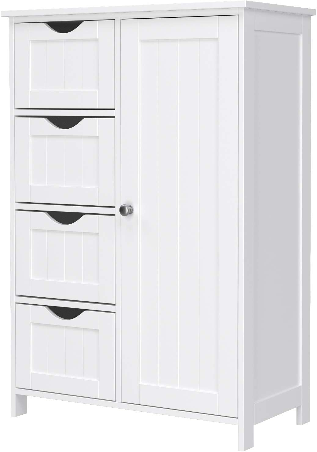 VASAGLE Bathroom Floor Storage Cabinet, Wooden Storage Unit with 4 Drawers, Single Door, Adjustable Shelf, for Living Room, Kitchen, Entryway, White LHC41W