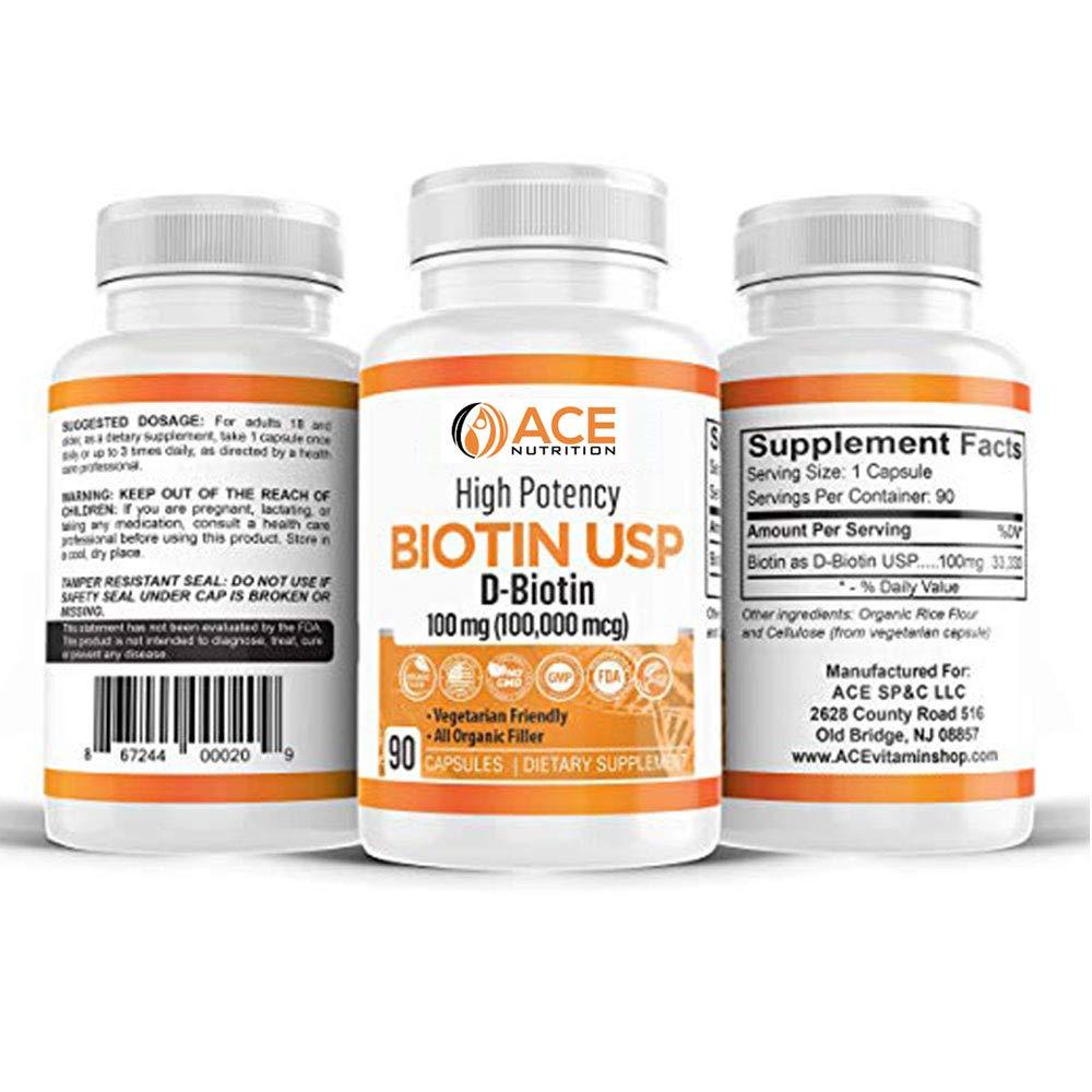 3-Pack of High Potency Biotin USP (D-Biotin) 100mg (100,000mcg)