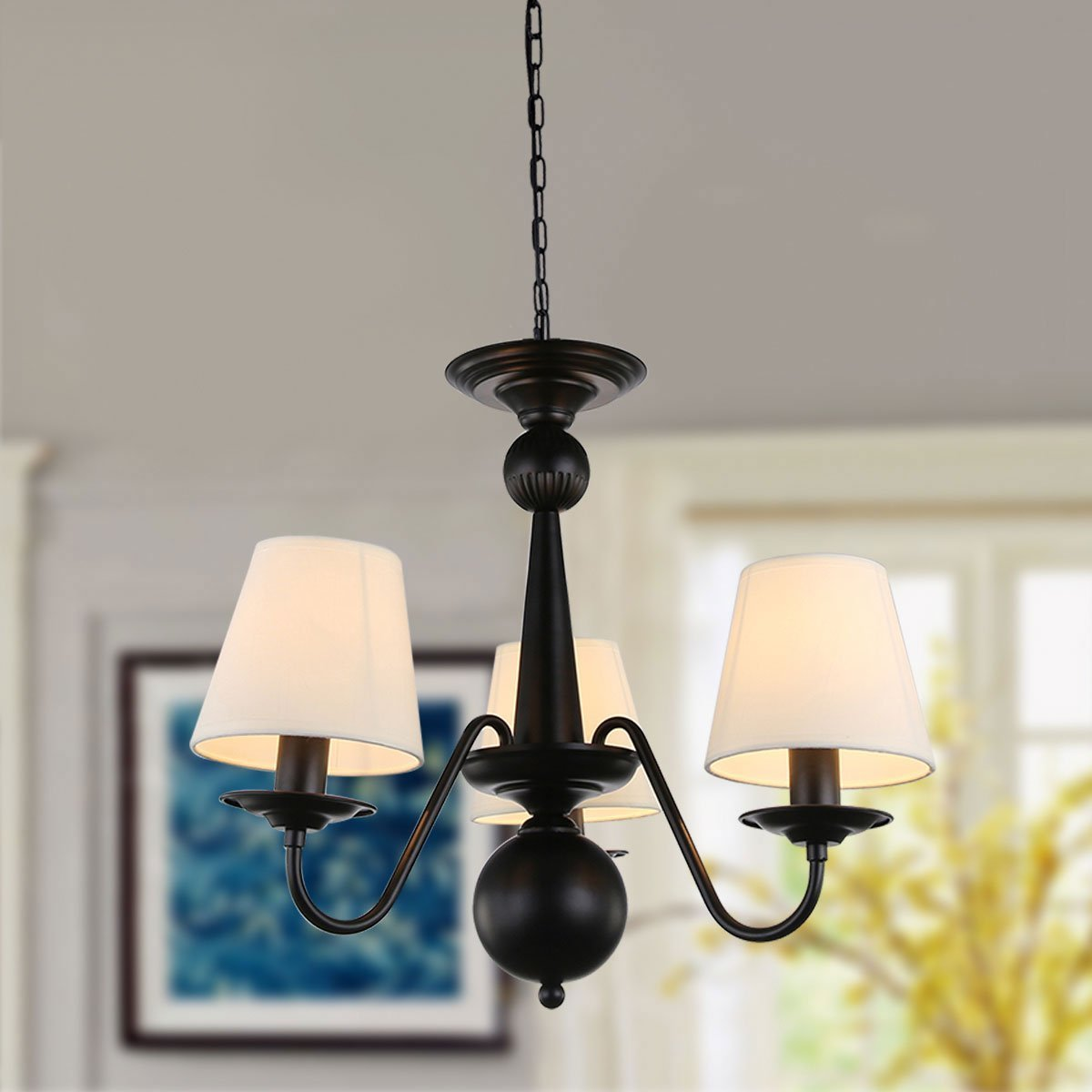 Cloth Cover American Chandeliers Pendant Lighting 3 Lights Antique Black Wrought Iron Ceiling Lamp Fixture Modern White Fabric Lampshade for Restaurant, Dining Room, Living Room by YANCEN (Image #3)