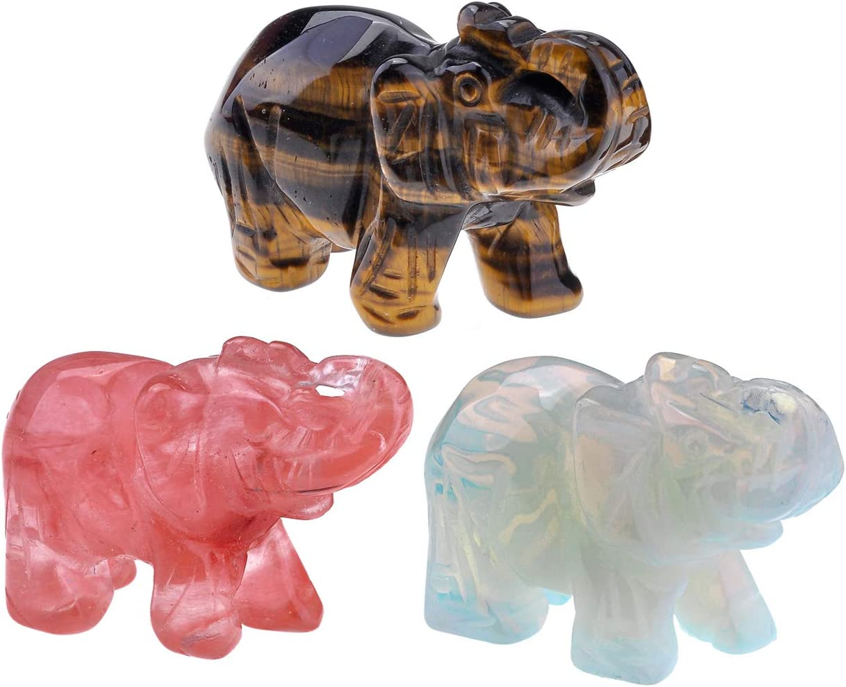 Top Plaza 3pcs Healing Crystal Stones Elephant Figurines Reiki Gemstone Crafts Statues Elephant Gifts Collectible Decor for Home Office Desk 1.5 inches (Cherry Quartz & Tiger Eye Stone & Opal)