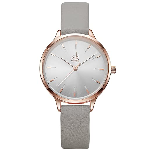 Amazon.com: SK SHENGKE Ladies Watches Round Women Watches on Sale Leather Band Small Quartz Analog Fashion Watches (K8025-Grey): Watches